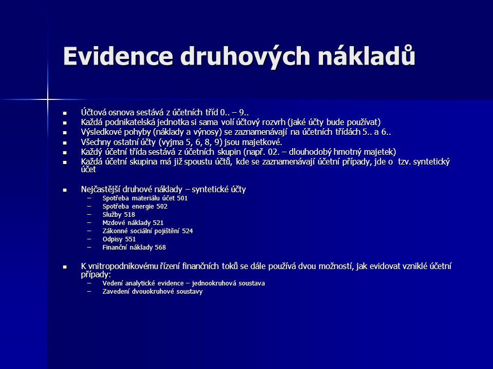 Evidence druhových nákladů