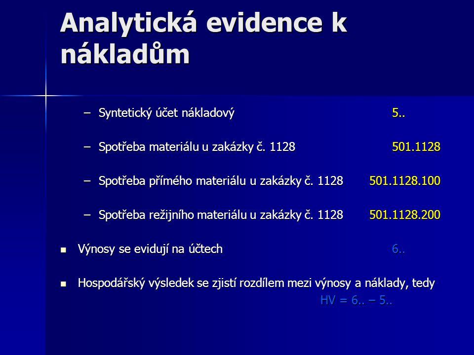 Analytická evidence k nákladům