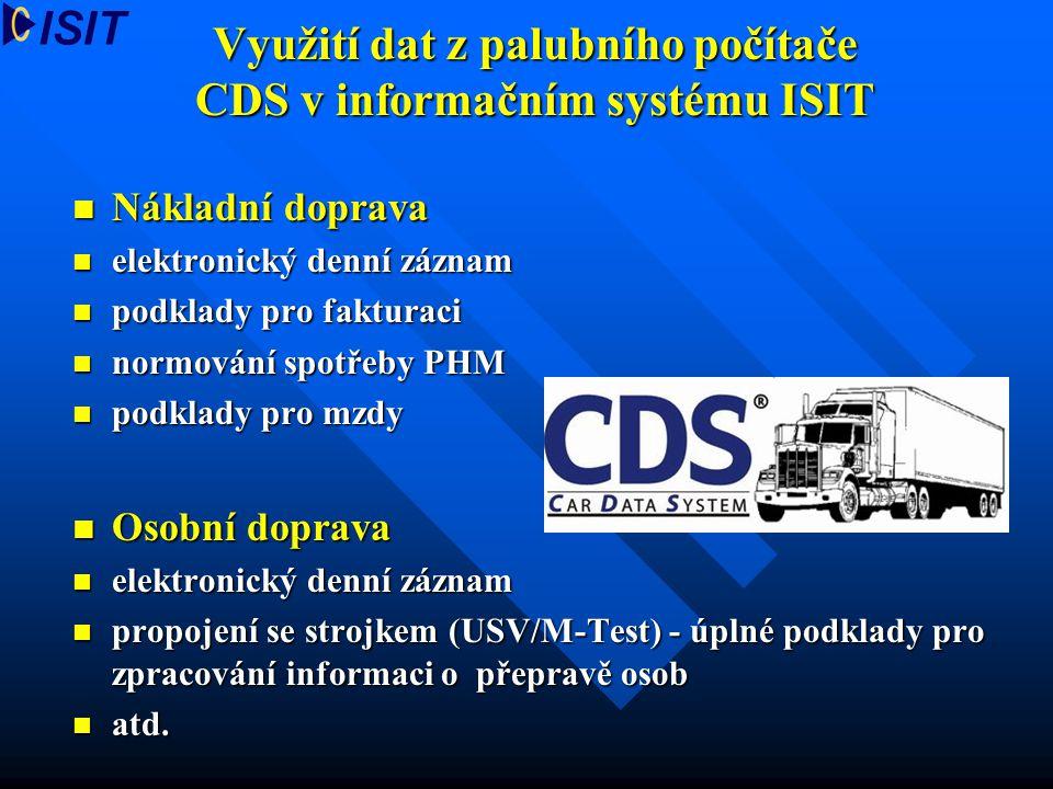 Využití dat z palubního počítače CDS v informačním systému ISIT