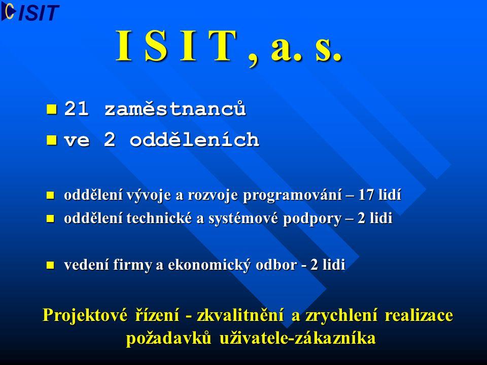 I S I T , a. s. 21 zaměstnanců ve 2 odděleních