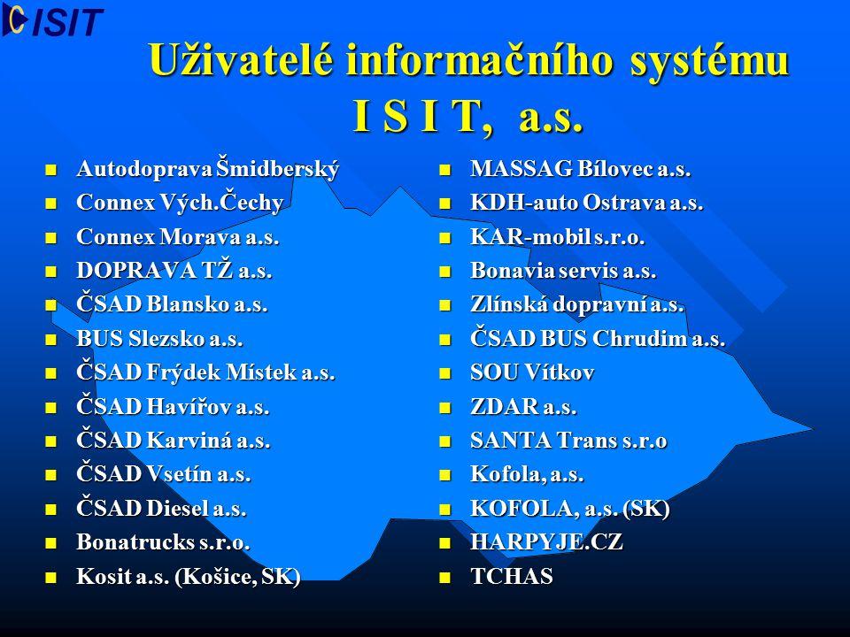Uživatelé informačního systému I S I T, a.s.