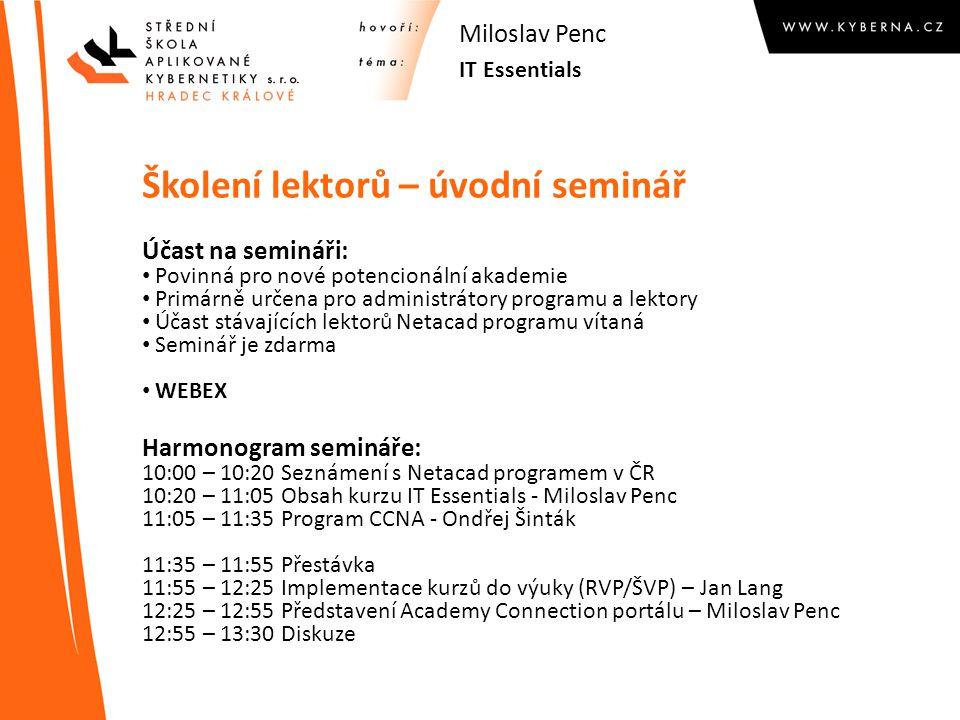 Školení lektorů – úvodní seminář