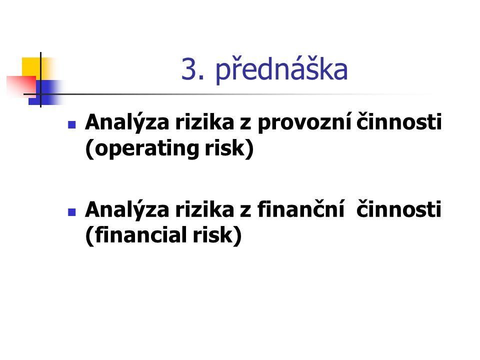 3. přednáška Analýza rizika z provozní činnosti (operating risk)