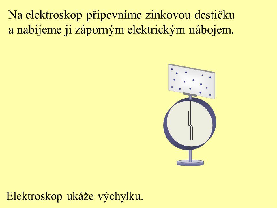 Na elektroskop připevníme zinkovou destičku