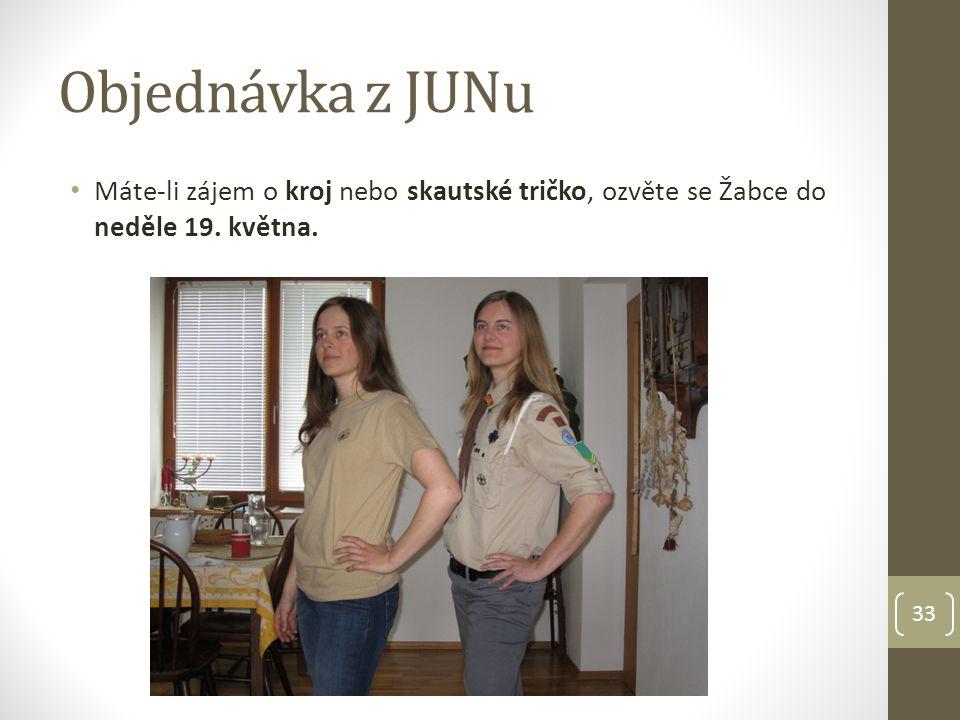 Objednávka z JUNu Máte-li zájem o kroj nebo skautské tričko, ozvěte se Žabce do neděle 19. května.