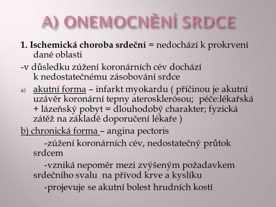 A) ONEMOCNĚNÍ SRDCE 1. Ischemická choroba srdeční = nedochází k prokrvení dané oblasti.