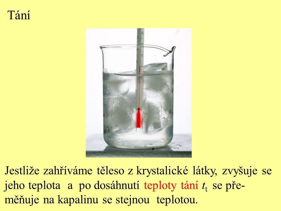 Tání Jestliže zahříváme těleso z krystalické látky, zvyšuje se