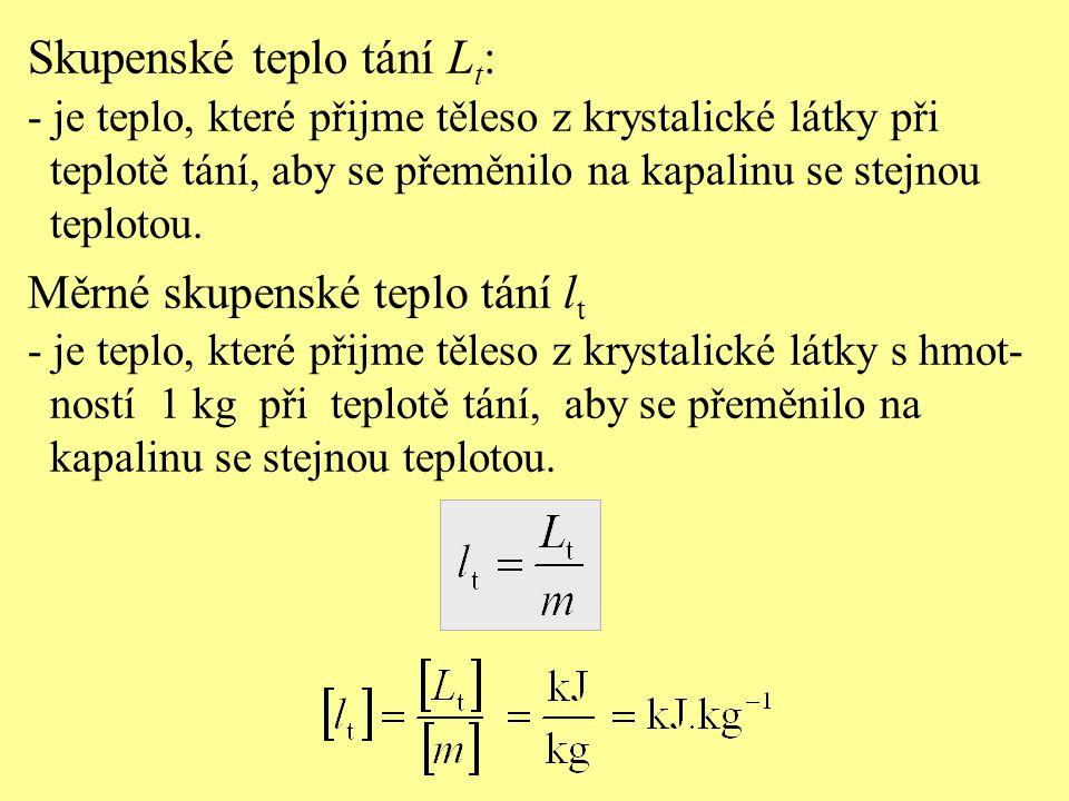 Skupenské teplo tání Lt: