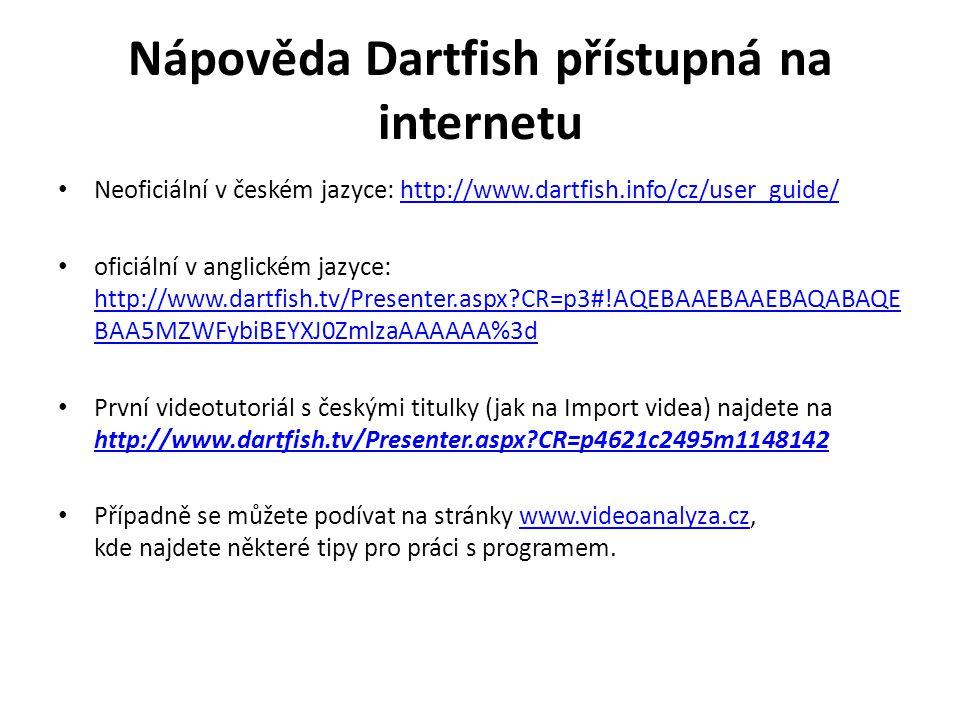 Nápověda Dartfish přístupná na internetu