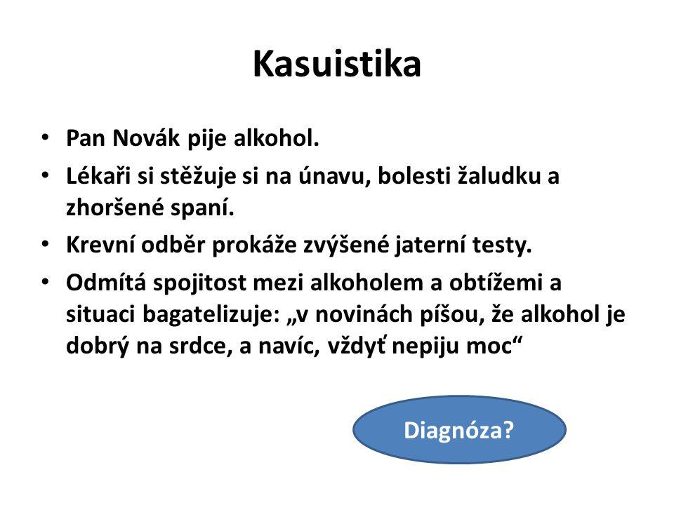 Kasuistika Pan Novák pije alkohol.