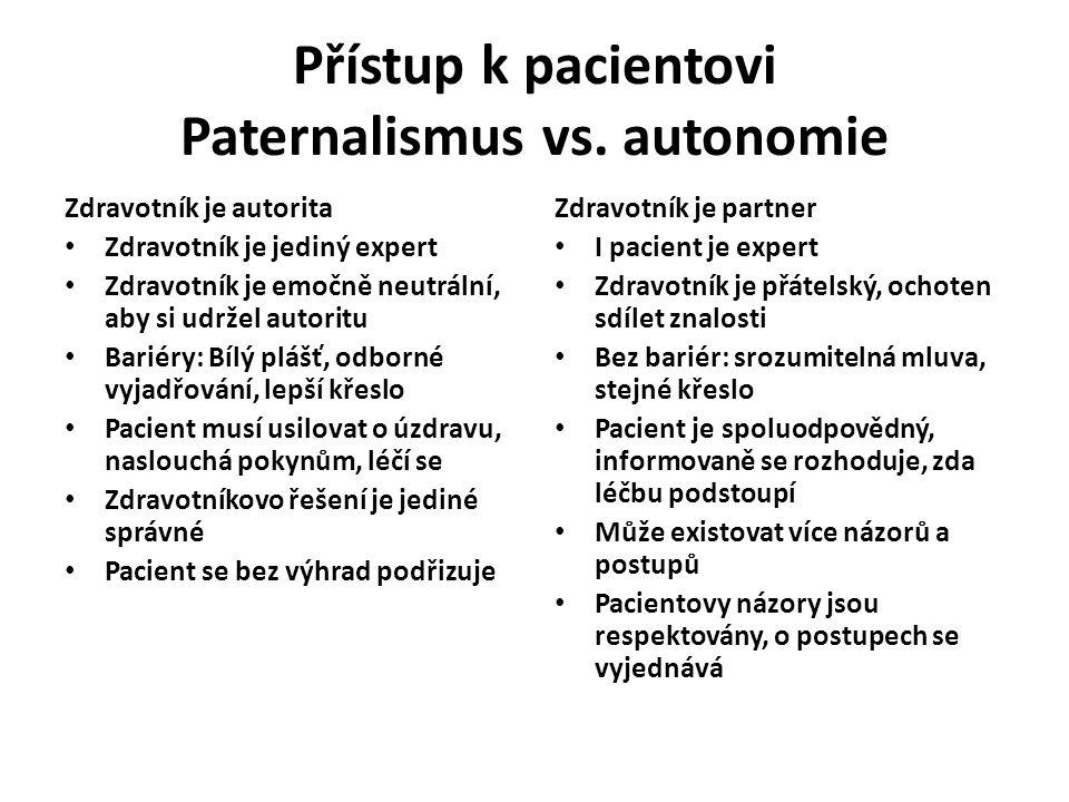 Přístup k pacientovi Paternalismus vs. autonomie