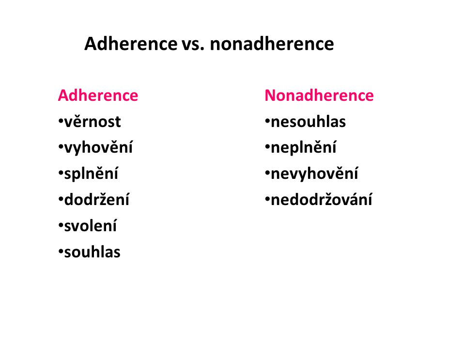 Adherence vs. nonadherence