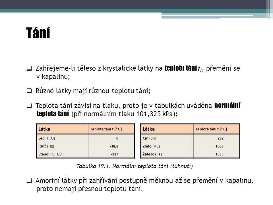 Tabulka 19.1. Normální teplota tání (tuhnutí)