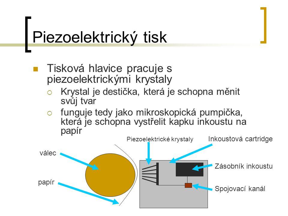 Piezoelektrický tisk Tisková hlavice pracuje s piezoelektrickými krystaly. Krystal je destička, která je schopna měnit svůj tvar.