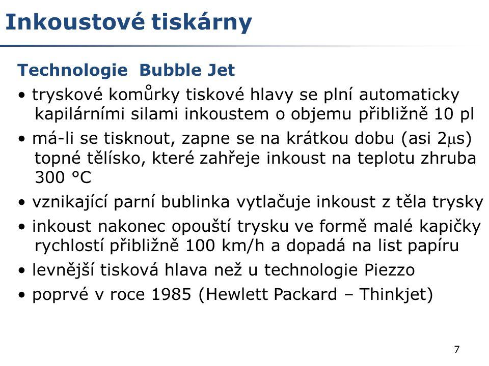 Inkoustové tiskárny Technologie Bubble Jet