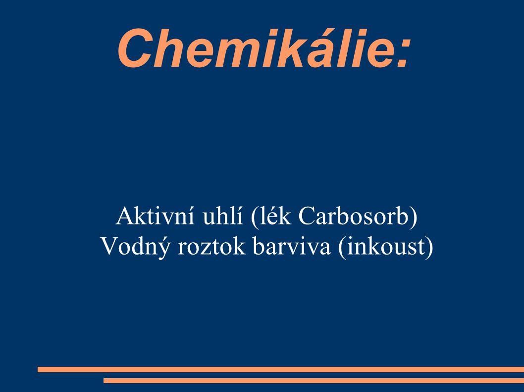 Aktivní uhlí (lék Carbosorb) Vodný roztok barviva (inkoust)
