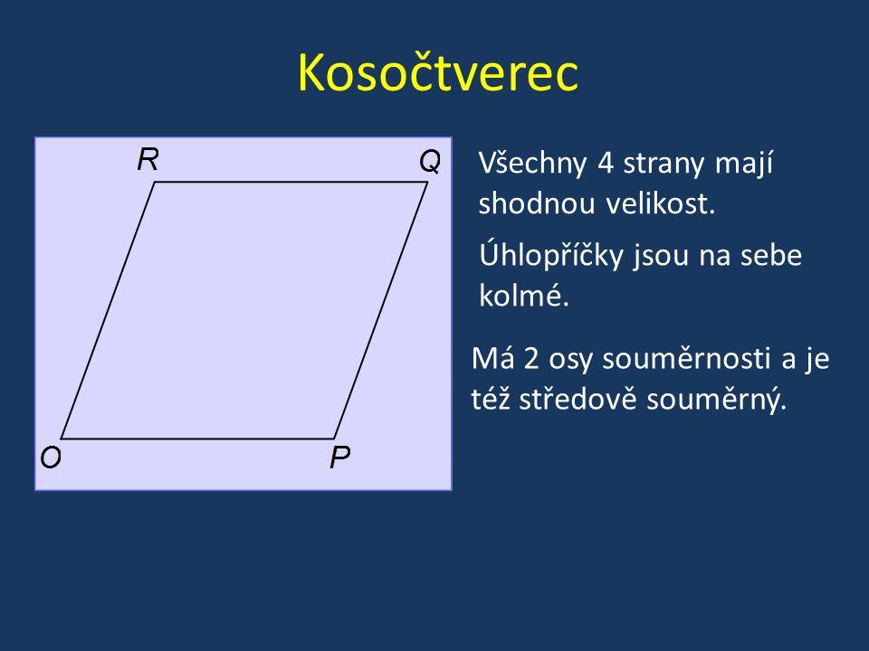 Kosočtverec Všechny 4 strany mají shodnou velikost.
