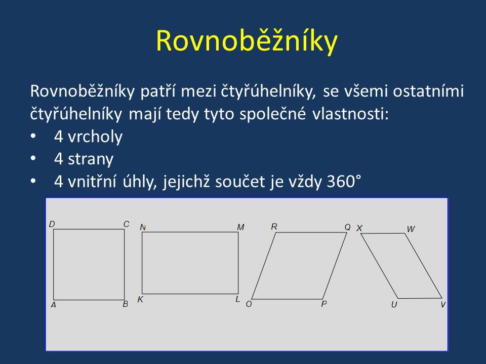 Rovnoběžníky Rovnoběžníky patří mezi čtyřúhelníky, se všemi ostatními čtyřúhelníky mají tedy tyto společné vlastnosti: