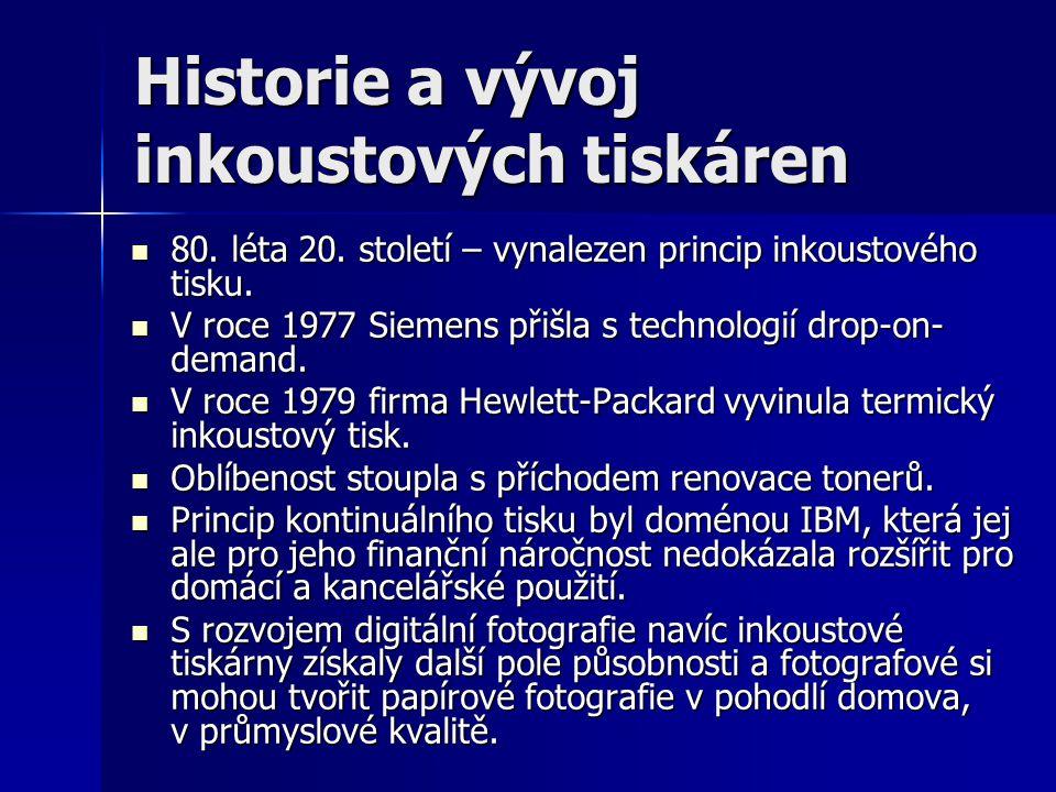 Historie a vývoj inkoustových tiskáren