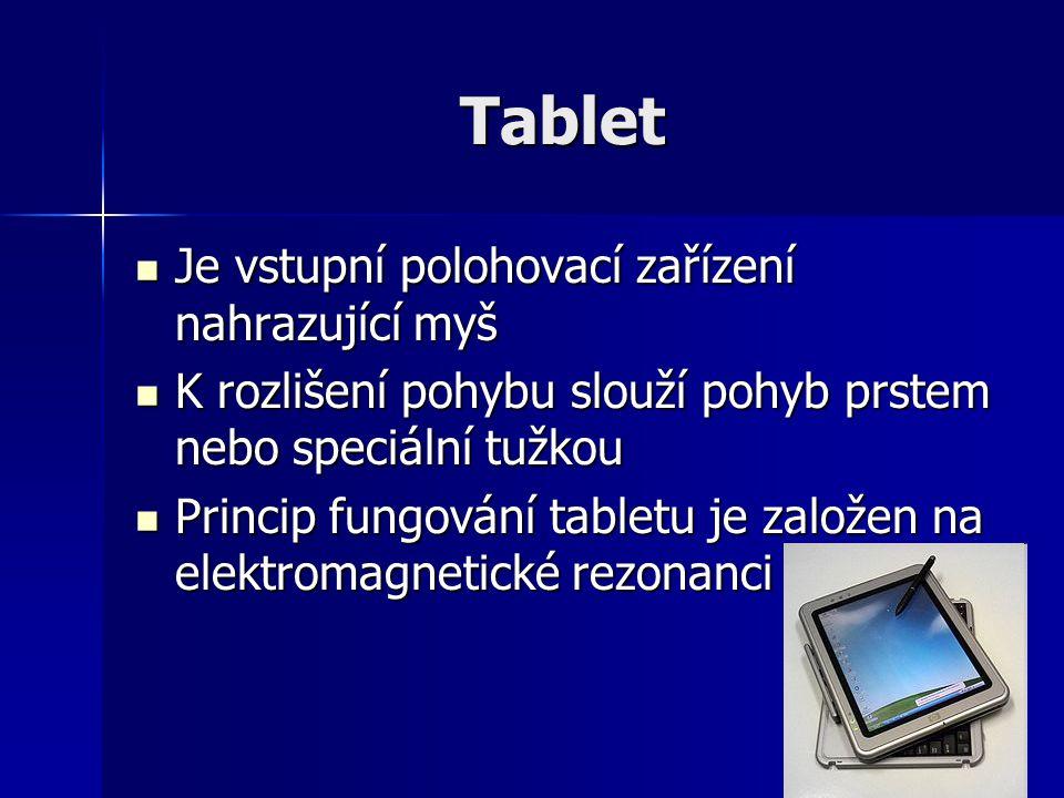 Tablet Je vstupní polohovací zařízení nahrazující myš