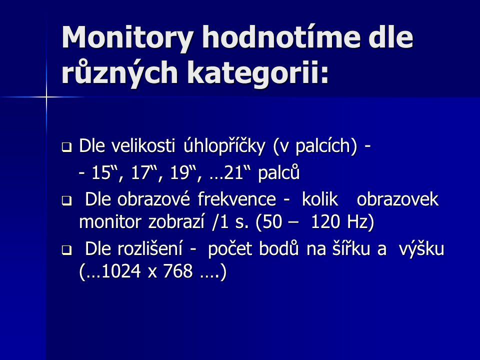 Monitory hodnotíme dle různých kategorii:
