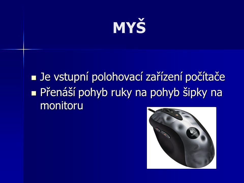 MYŠ Je vstupní polohovací zařízení počítače