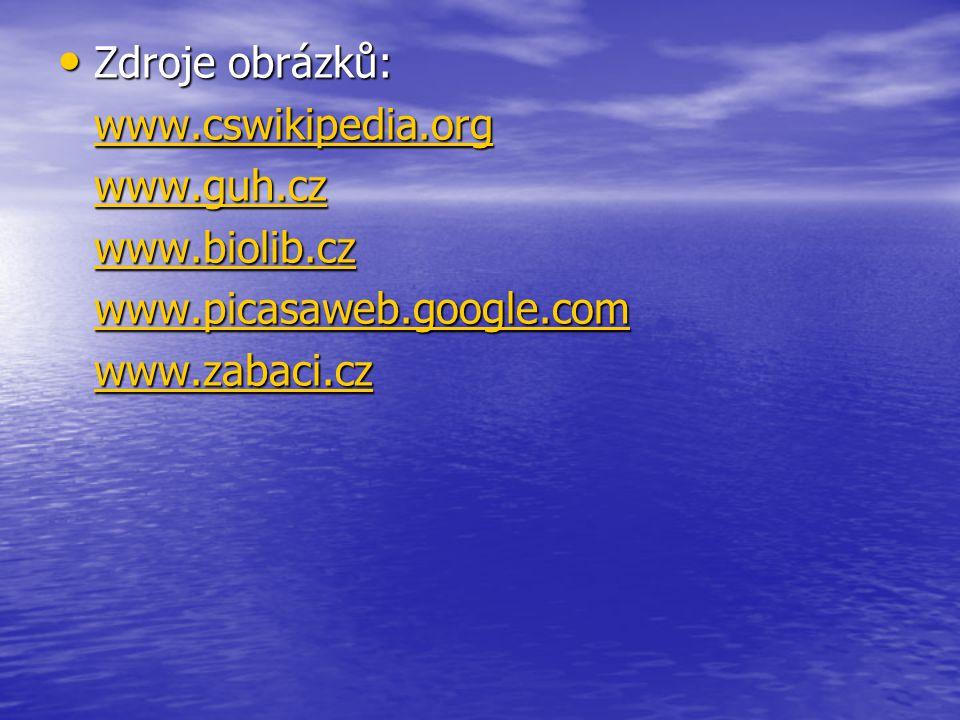 Zdroje obrázků: www.cswikipedia.org www.guh.cz www.biolib.cz www.picasaweb.google.com www.zabaci.cz