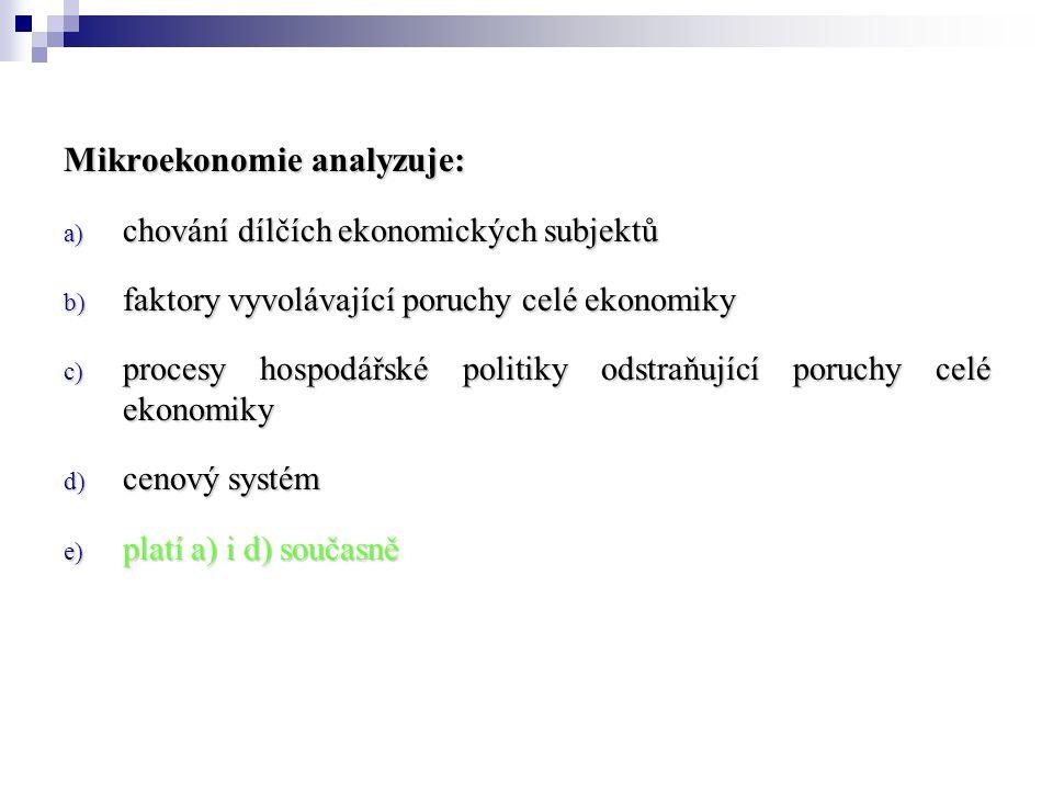 Mikroekonomie analyzuje: