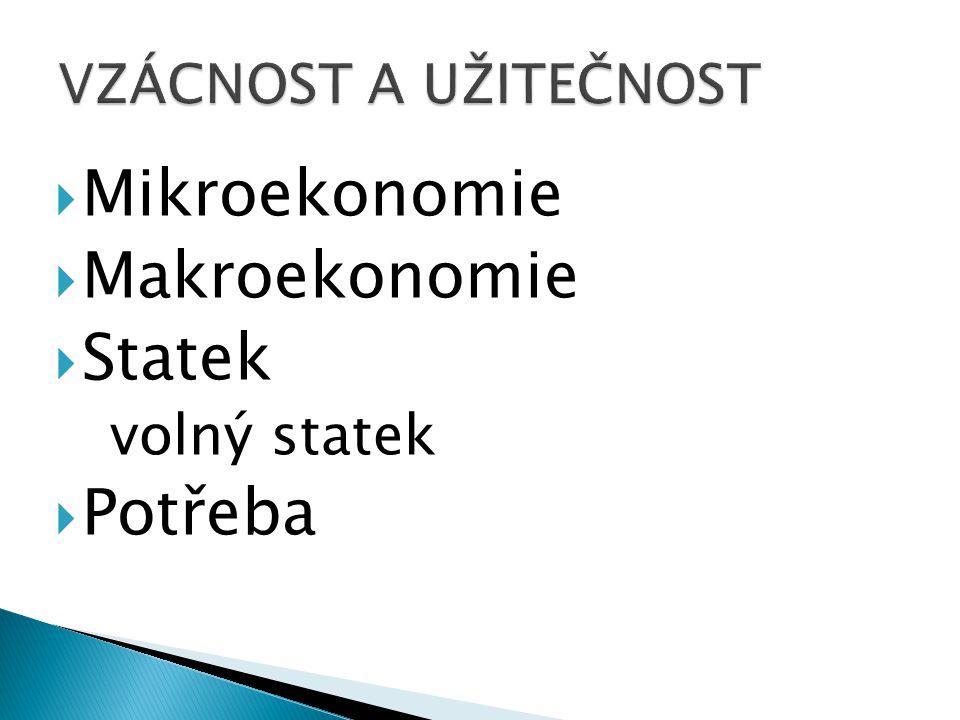 Mikroekonomie Makroekonomie Statek Potřeba volný statek