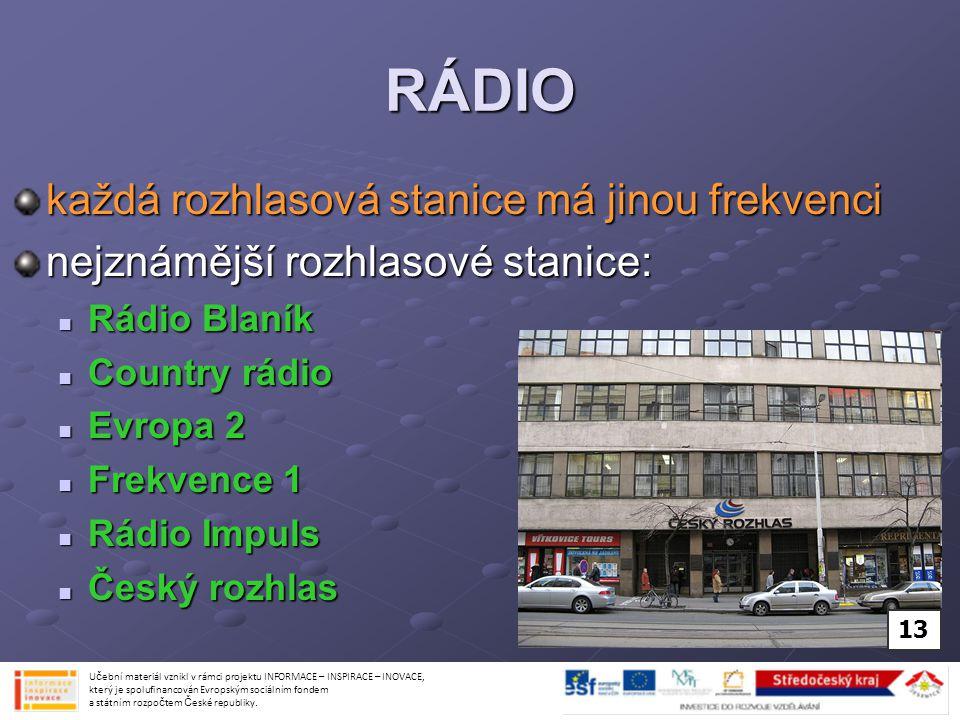 RÁDIO každá rozhlasová stanice má jinou frekvenci