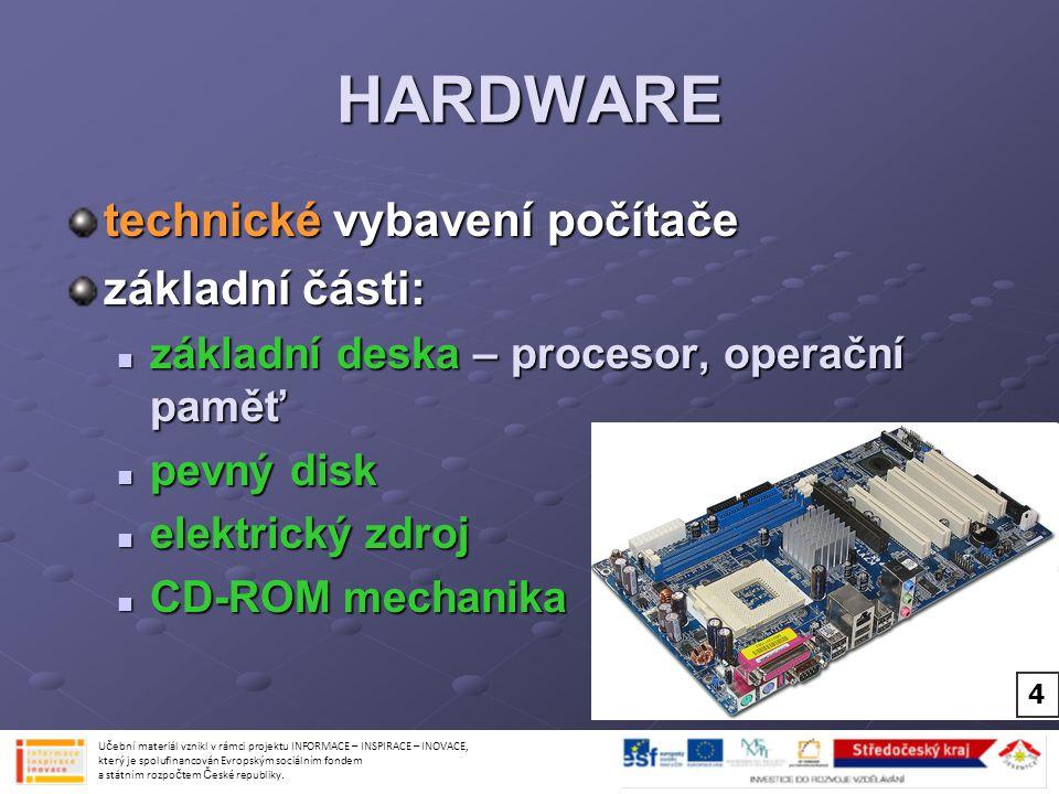 HARDWARE technické vybavení počítače základní části: