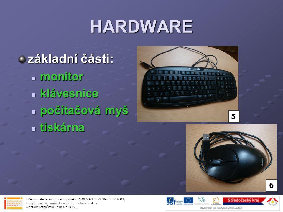 HARDWARE základní části: monitor klávesnice počítačová myš tiskárna 5