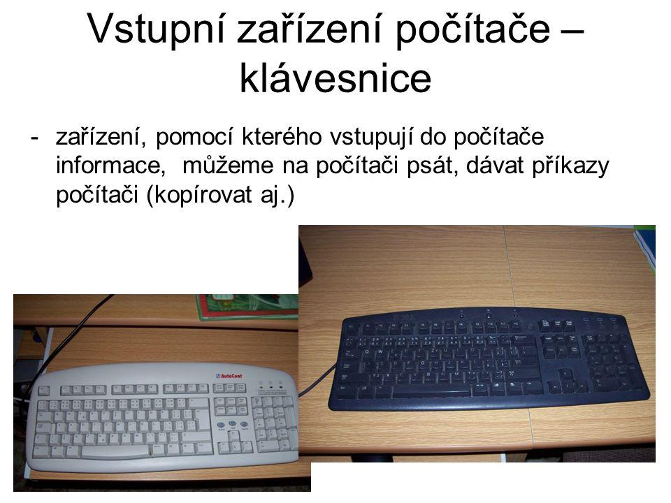 Vstupní zařízení počítače – klávesnice
