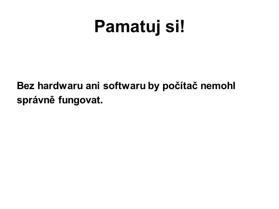 Pamatuj si! Bez hardwaru ani softwaru by počítač nemohl správně fungovat.