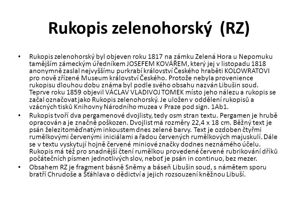 Rukopis zelenohorský (RZ)