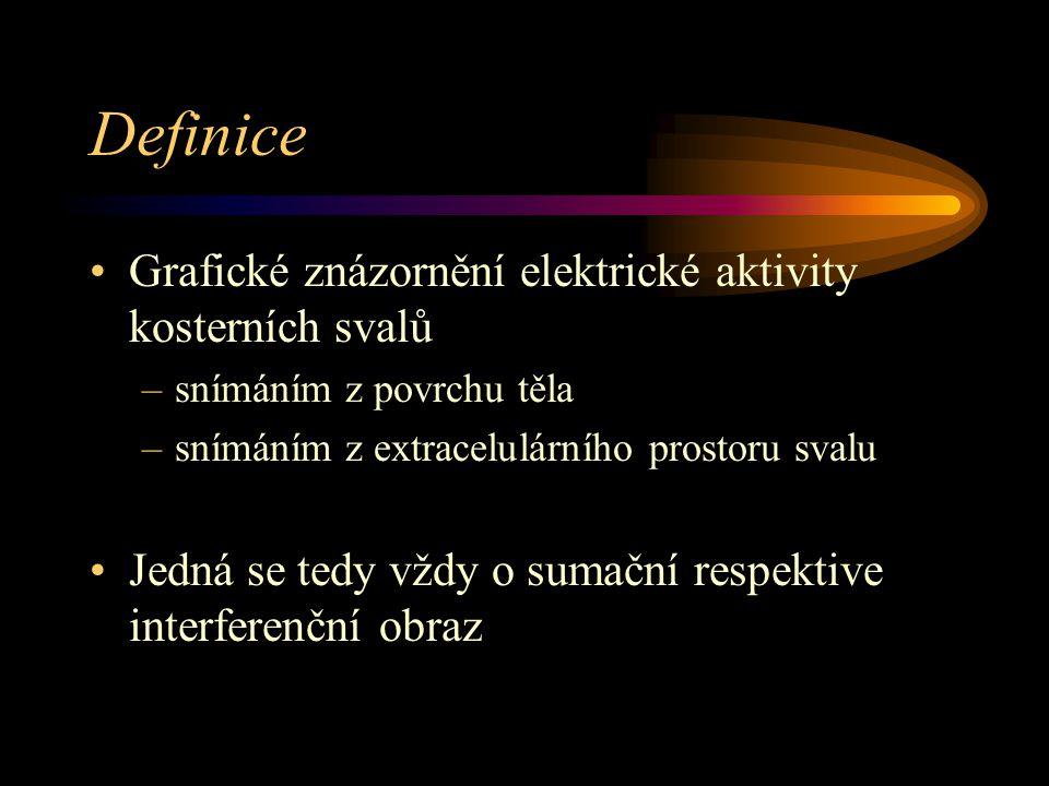 Definice Grafické znázornění elektrické aktivity kosterních svalů