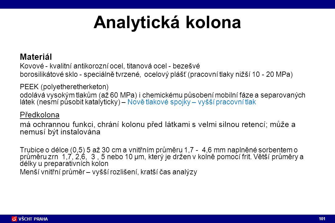 Analytická kolona Materiál Předkolona