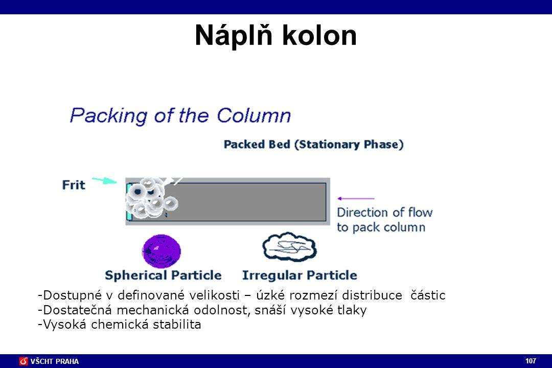 Náplň kolon Dostupné v definované velikosti – úzké rozmezí distribuce částic. Dostatečná mechanická odolnost, snáší vysoké tlaky.