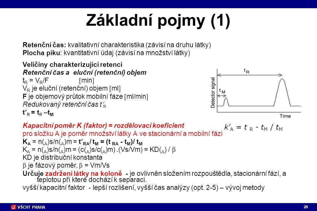 Základní pojmy (1) k A = t R - tM / tM