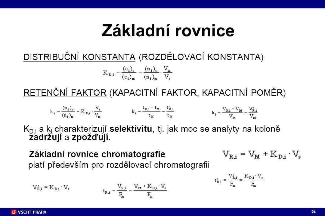Základní rovnice DISTRIBUČNÍ KONSTANTA (ROZDĚLOVACÍ KONSTANTA)