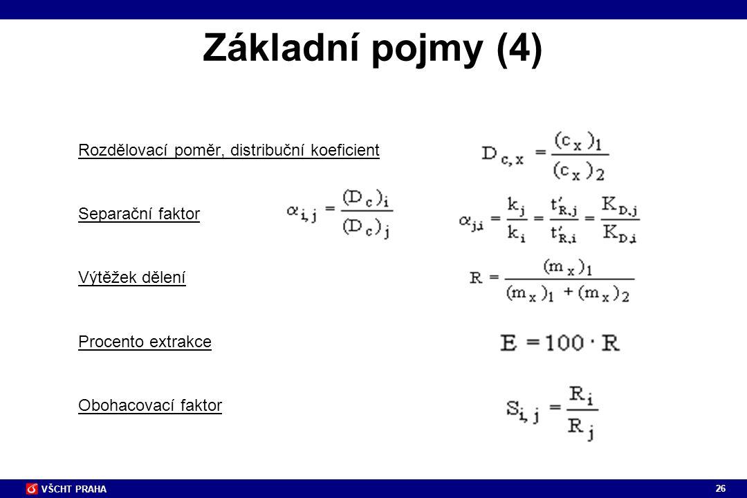 Základní pojmy (4) Rozdělovací poměr, distribuční koeficient Separační faktor Výtěžek dělení Procento extrakce Obohacovací faktor.