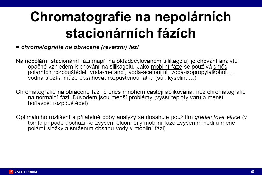 Chromatografie na nepolárních stacionárních fázích