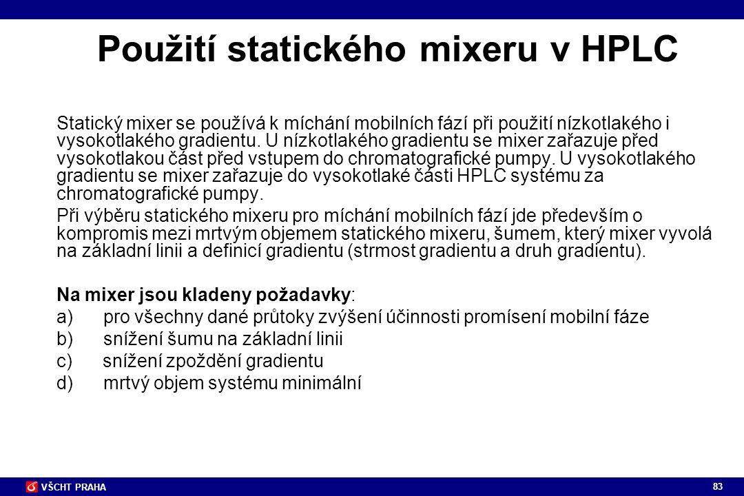 Použití statického mixeru v HPLC