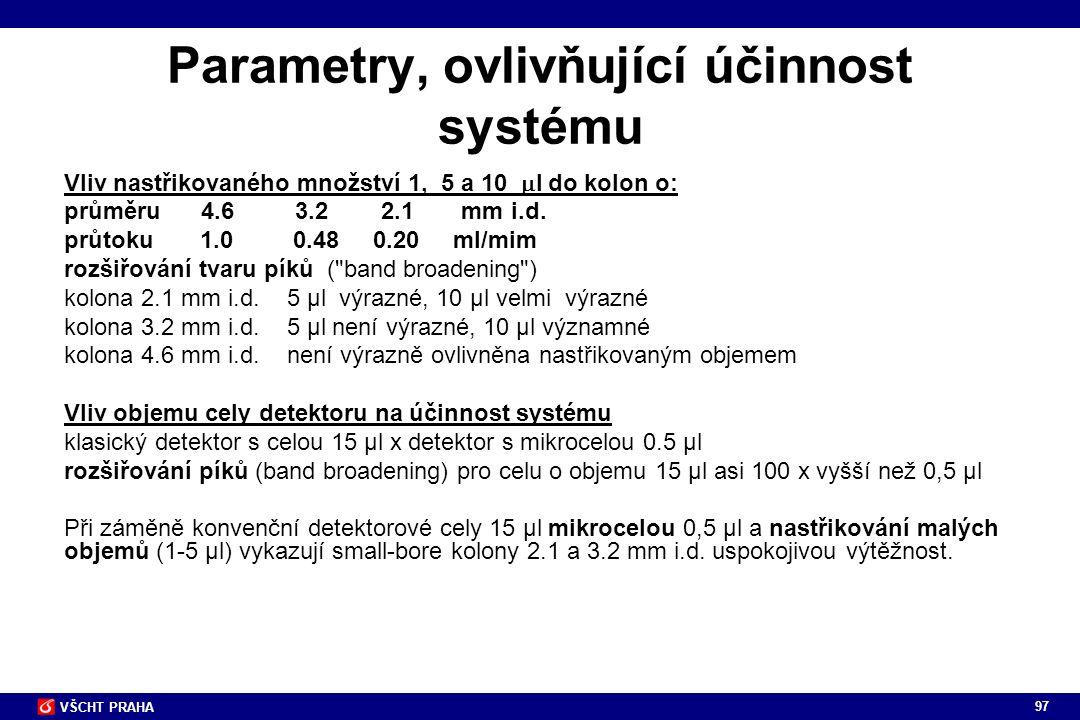 Parametry, ovlivňující účinnost systému