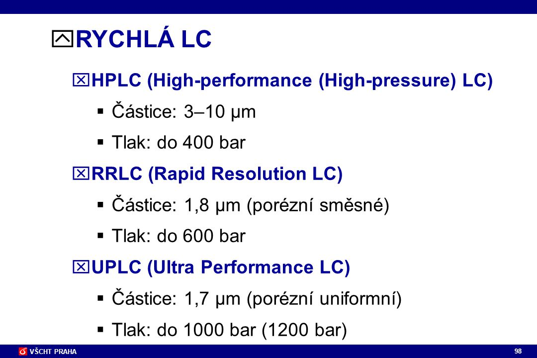 RYCHLÁ LC HPLC (High-performance (High-pressure) LC) Částice: 3–10 µm