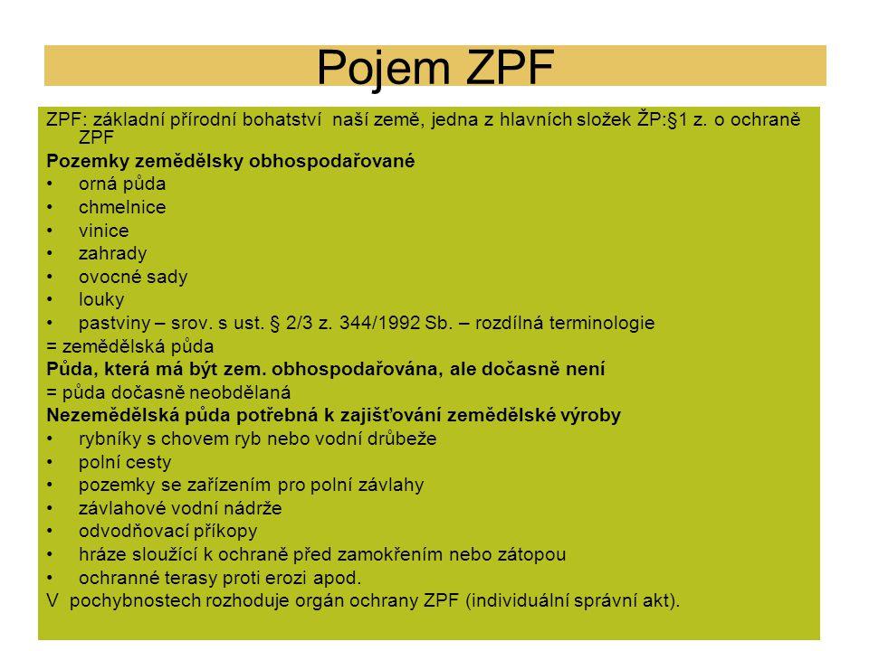 Pojem ZPF ZPF: základní přírodní bohatství naší země, jedna z hlavních složek ŽP:§1 z. o ochraně ZPF.