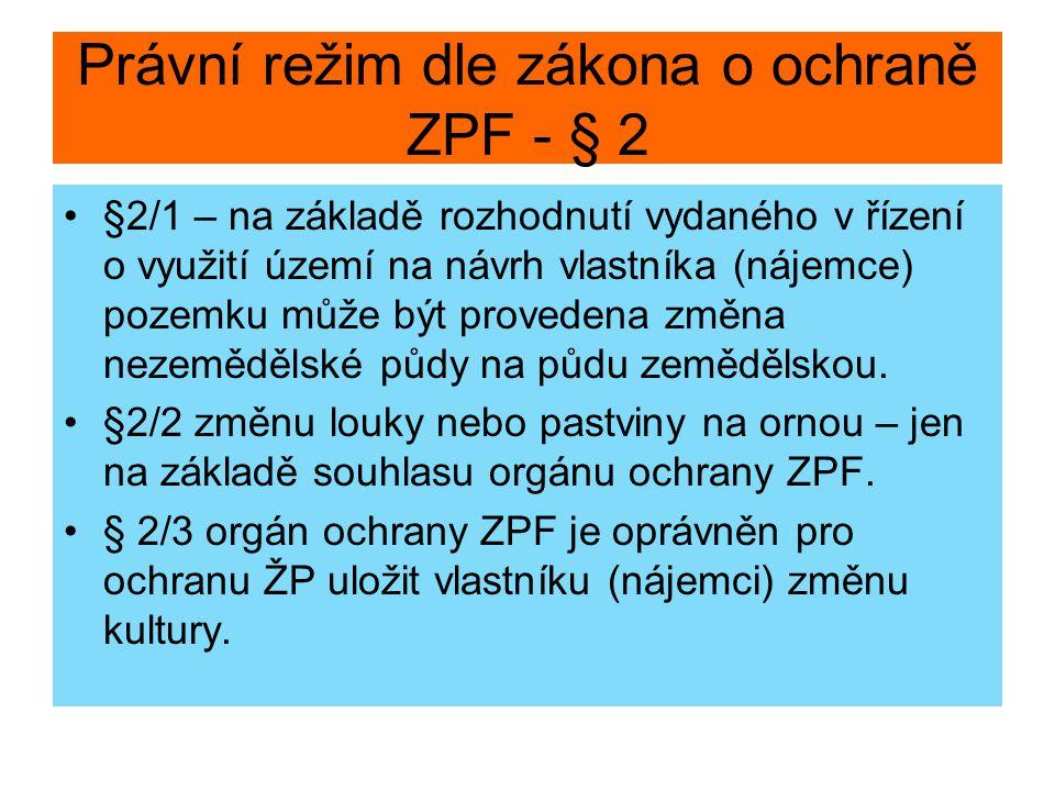 Právní režim dle zákona o ochraně ZPF - § 2