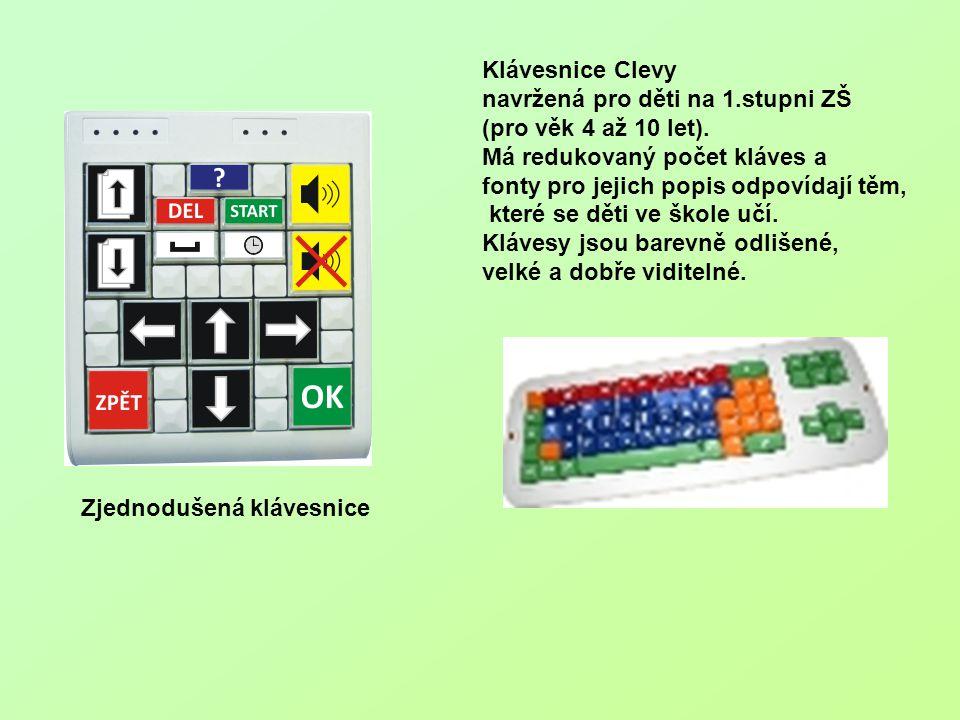 Klávesnice Clevy navržená pro děti na 1.stupni ZŠ. (pro věk 4 až 10 let). Má redukovaný počet kláves a.