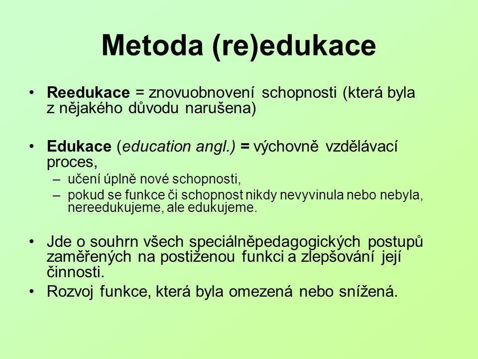 Metoda (re)edukace Reedukace = znovuobnovení schopnosti (která byla z nějakého důvodu narušena)