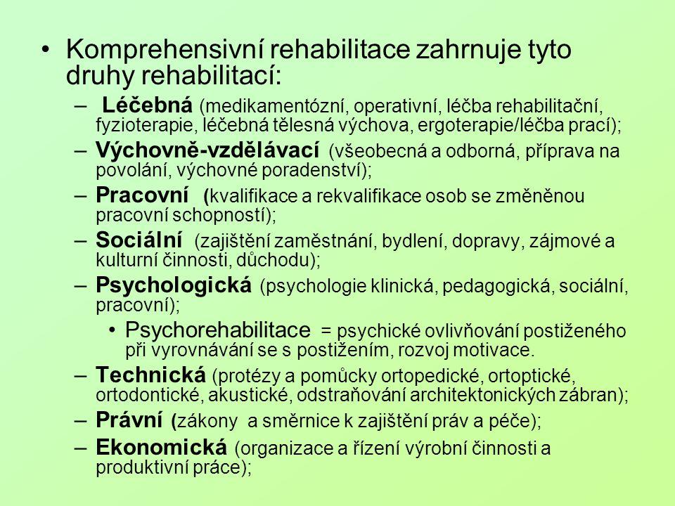 Komprehensivní rehabilitace zahrnuje tyto druhy rehabilitací: